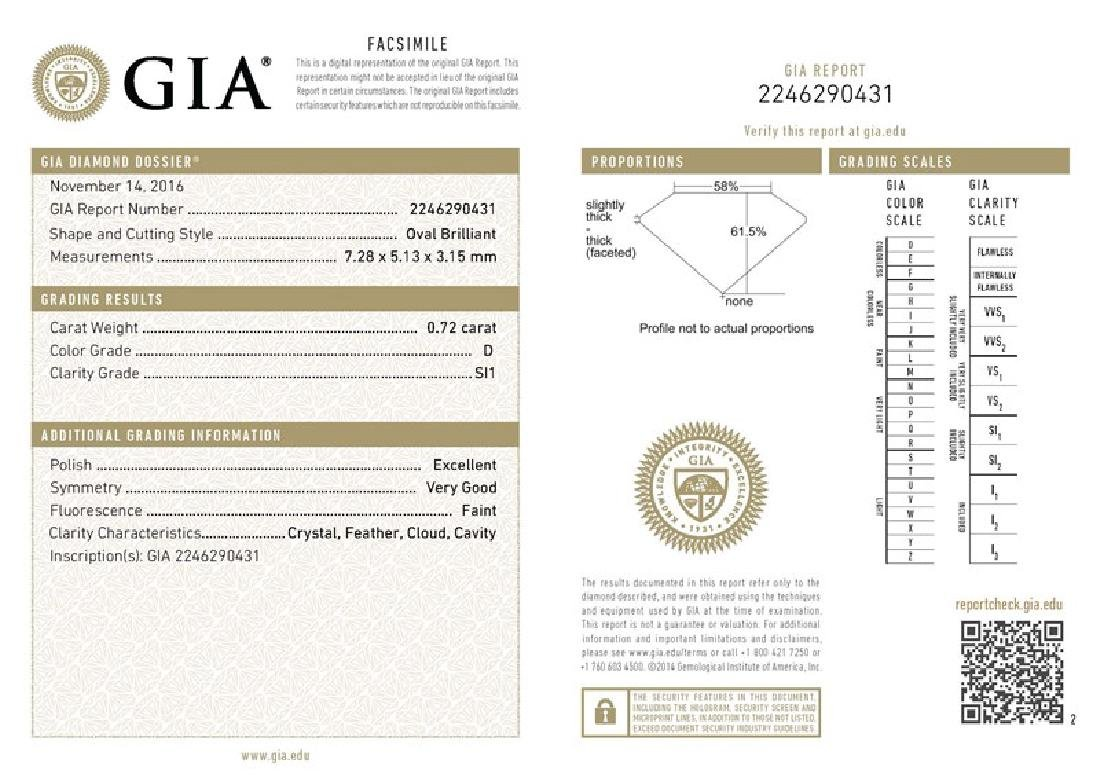 GIA/Oval/D/SI1/0.72Ct