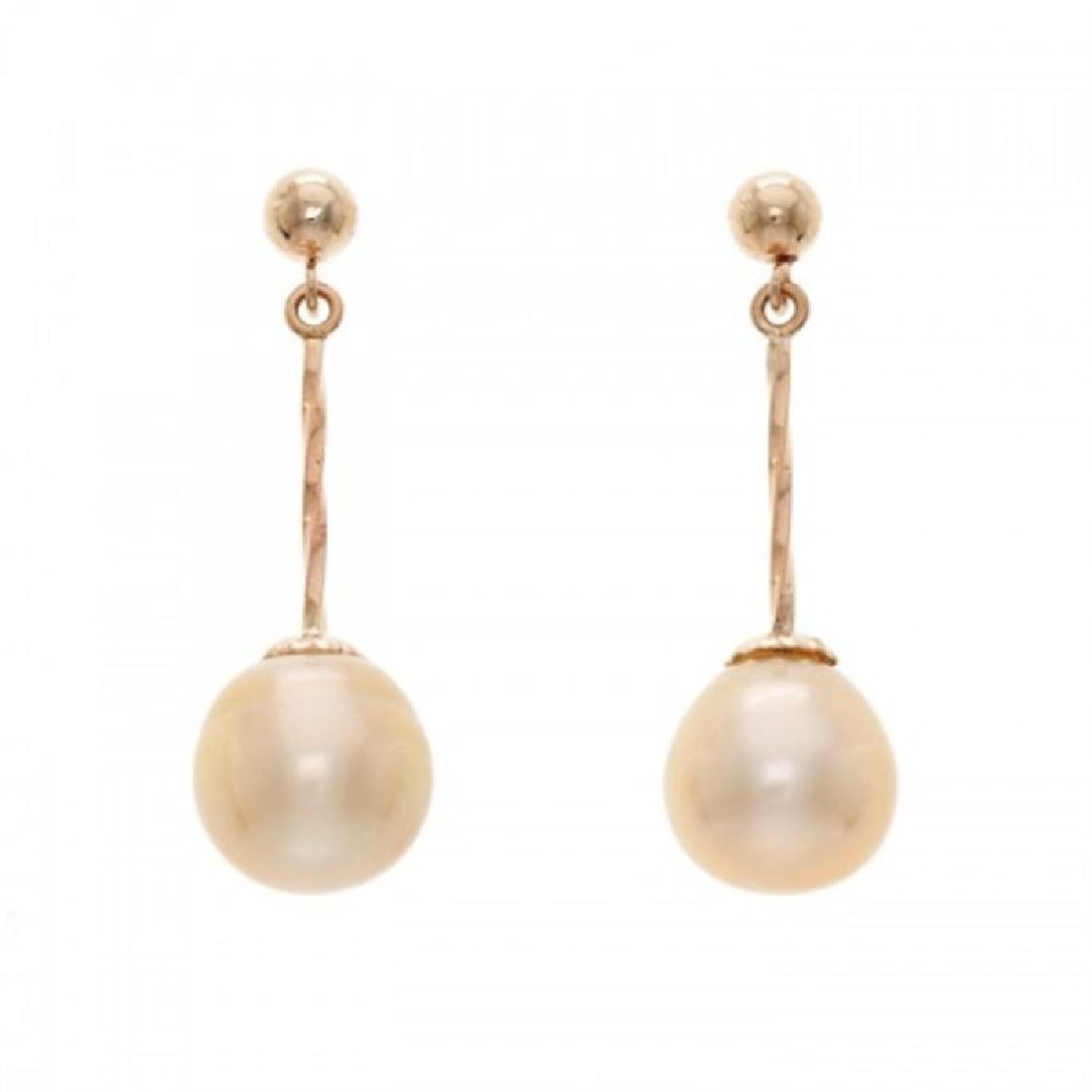 9.5-10.0mm Golden Southsea Drop Pearl Earrings