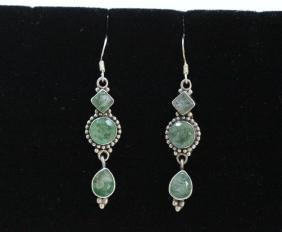 Sterling Silver .925 Light Greeen Gem Stone Earrings