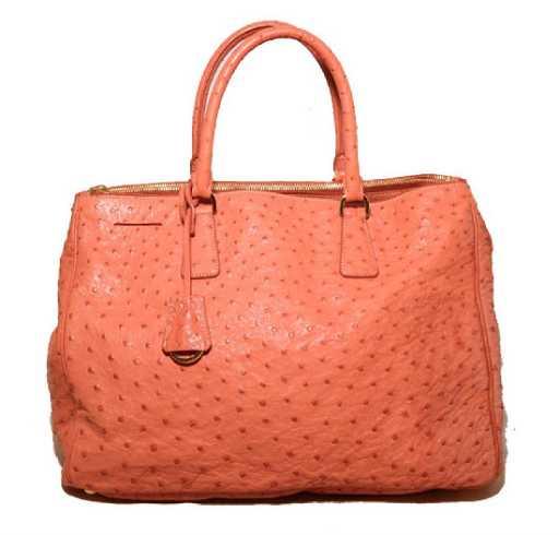 7acd8a8a968b Prada Peach Coral Ostrich Leather Tote Bag