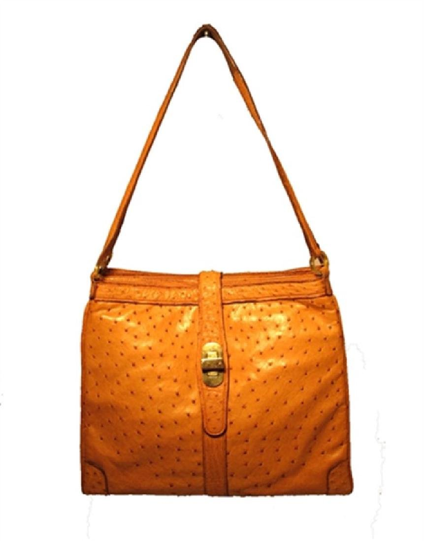 Vintage Mark Cross Tan Ostrich Shoulder Bag