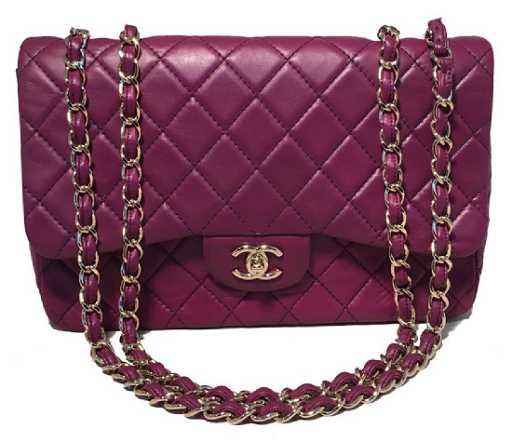 4079d5d96ad19e Chanel Purple Leather Jumbo Classic Flap Shoulder Bag