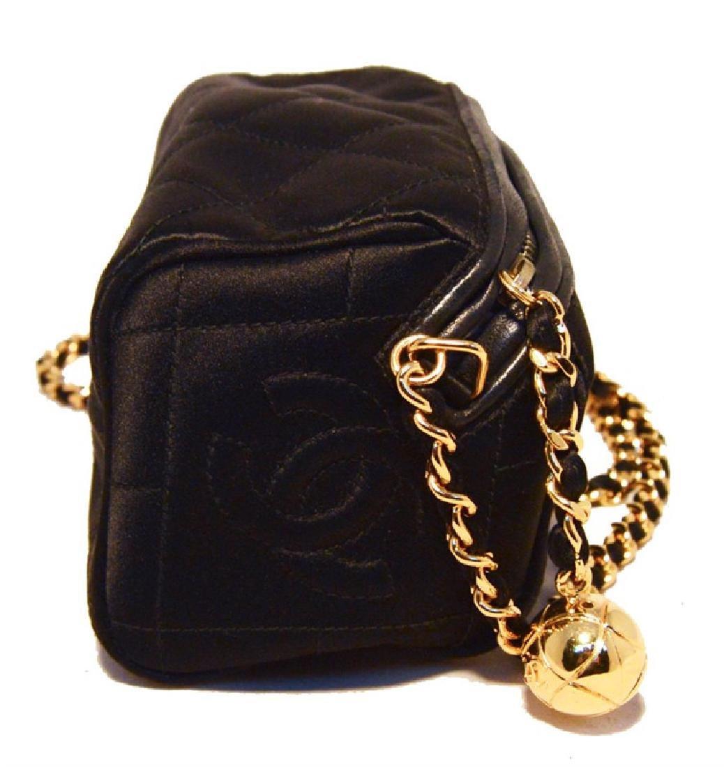 Chanel Vintage Black Quilted Satin Shoulder Bag - 2
