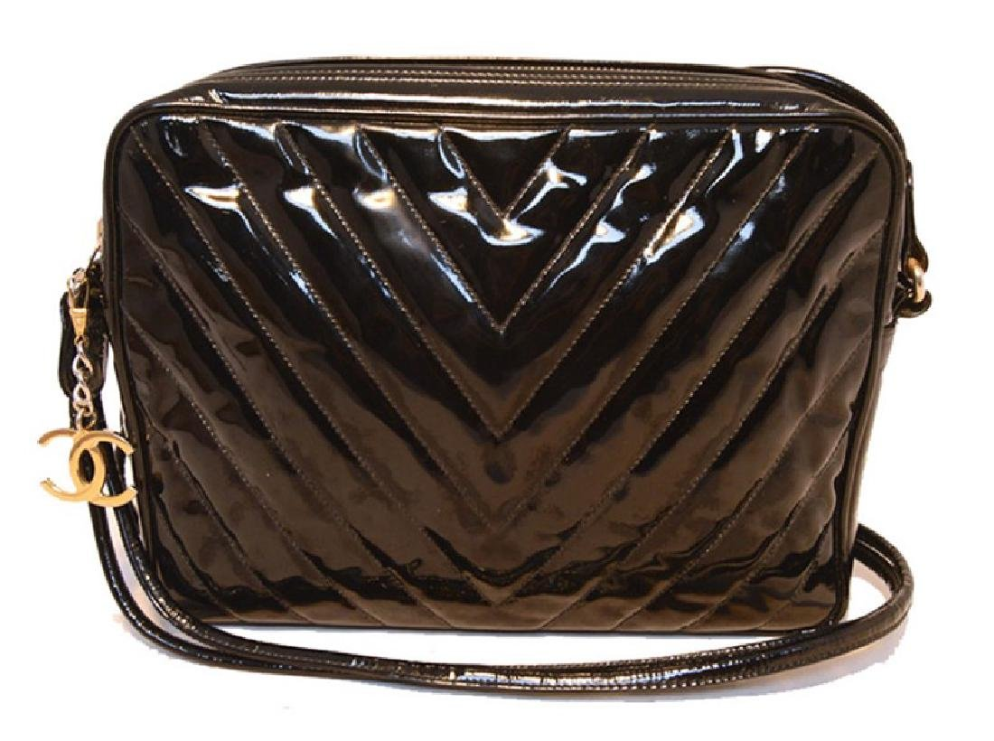 Chanel Vintage Black Patent Leather Chevron Quilted