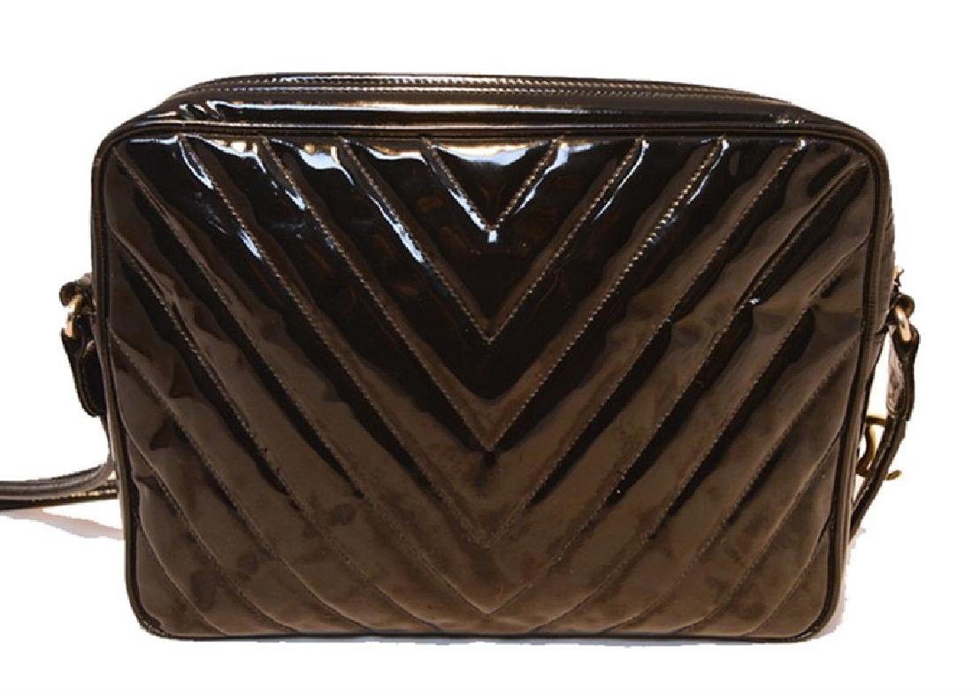 Chanel Vintage Black Patent Leather Chevron Quilted - 2