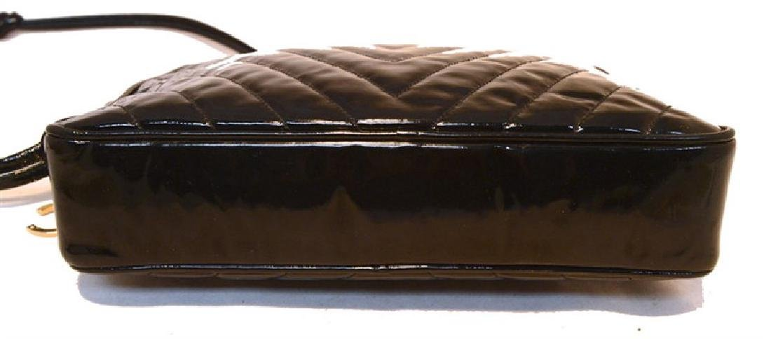 Chanel Vintage Black Patent Leather Chevron Quilted - 4