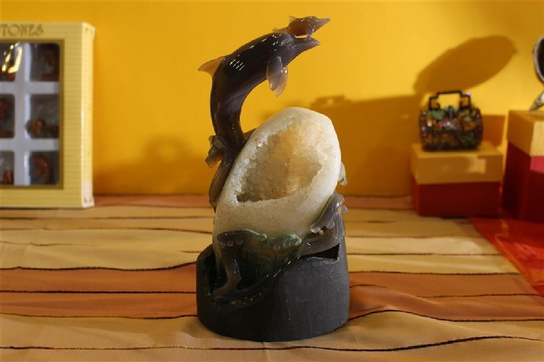 Agate With Stand Carving DOLPHINS