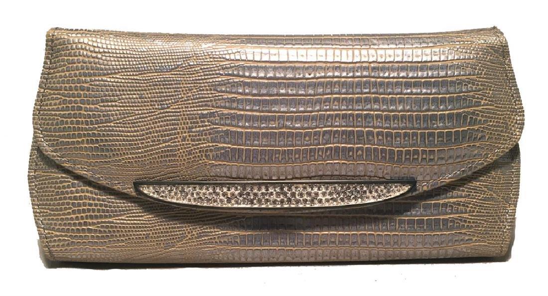 Judith Leiber Silver Lizard Crystal Front Evening Bag