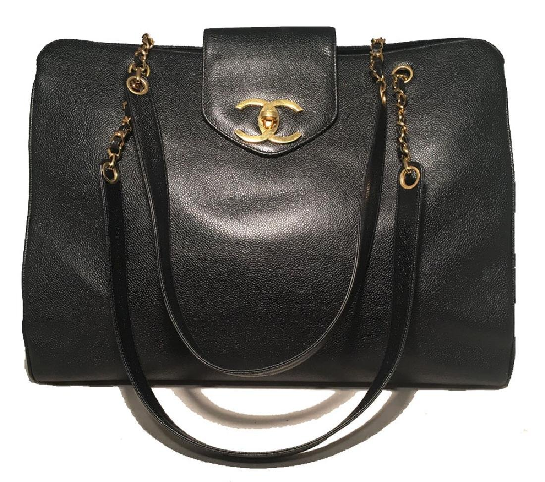 Chanel Vintage Black Caviar Leather Model Overnighter
