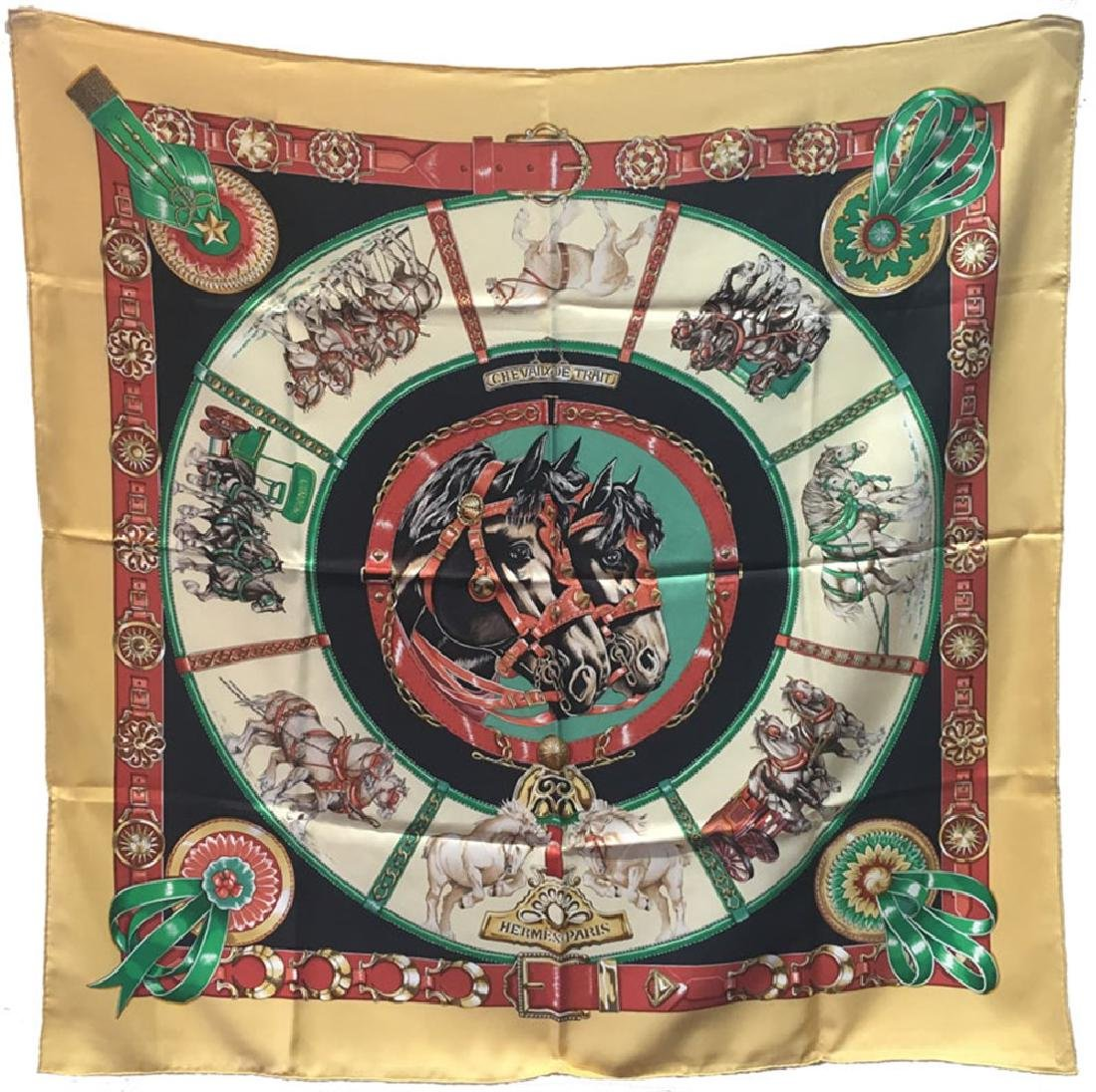 Hermes Vintage Chevaux de Trait Silk Scarf in Yellow