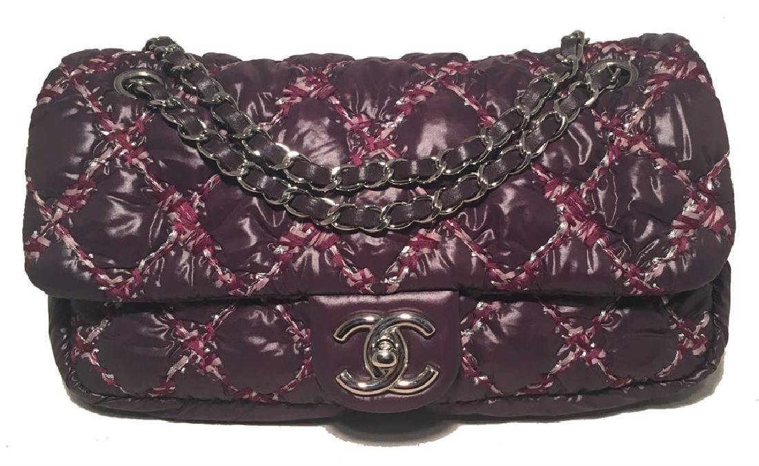 Chanel Plum Purple Quilted Puffy Nylon Classic Flap