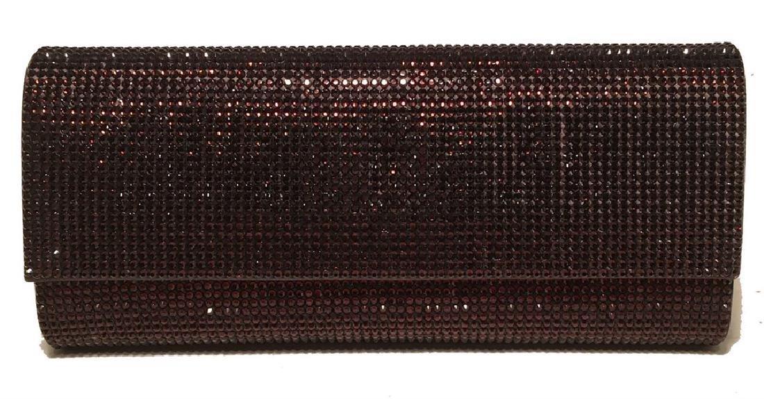 Judith Leiber Dark Red Crystal Evening Bag Clutch
