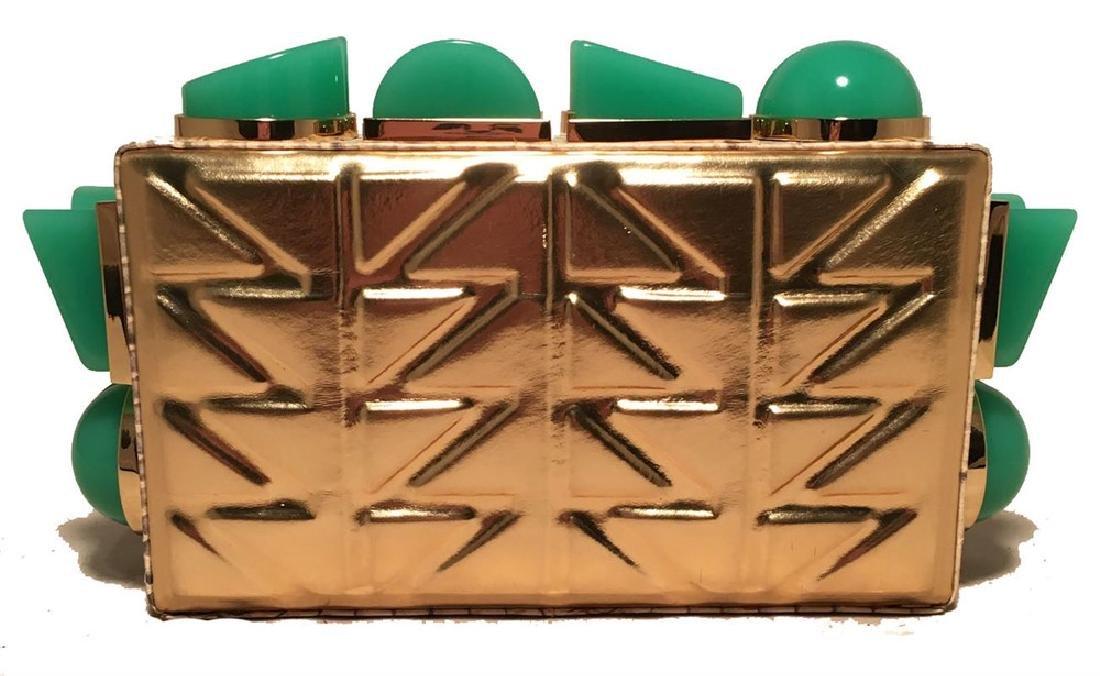 Tanya Hawkes Gold and Teal Box Clutch