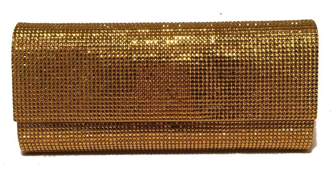 Judith Leiber Gold Crystal Evening Bag Clutch