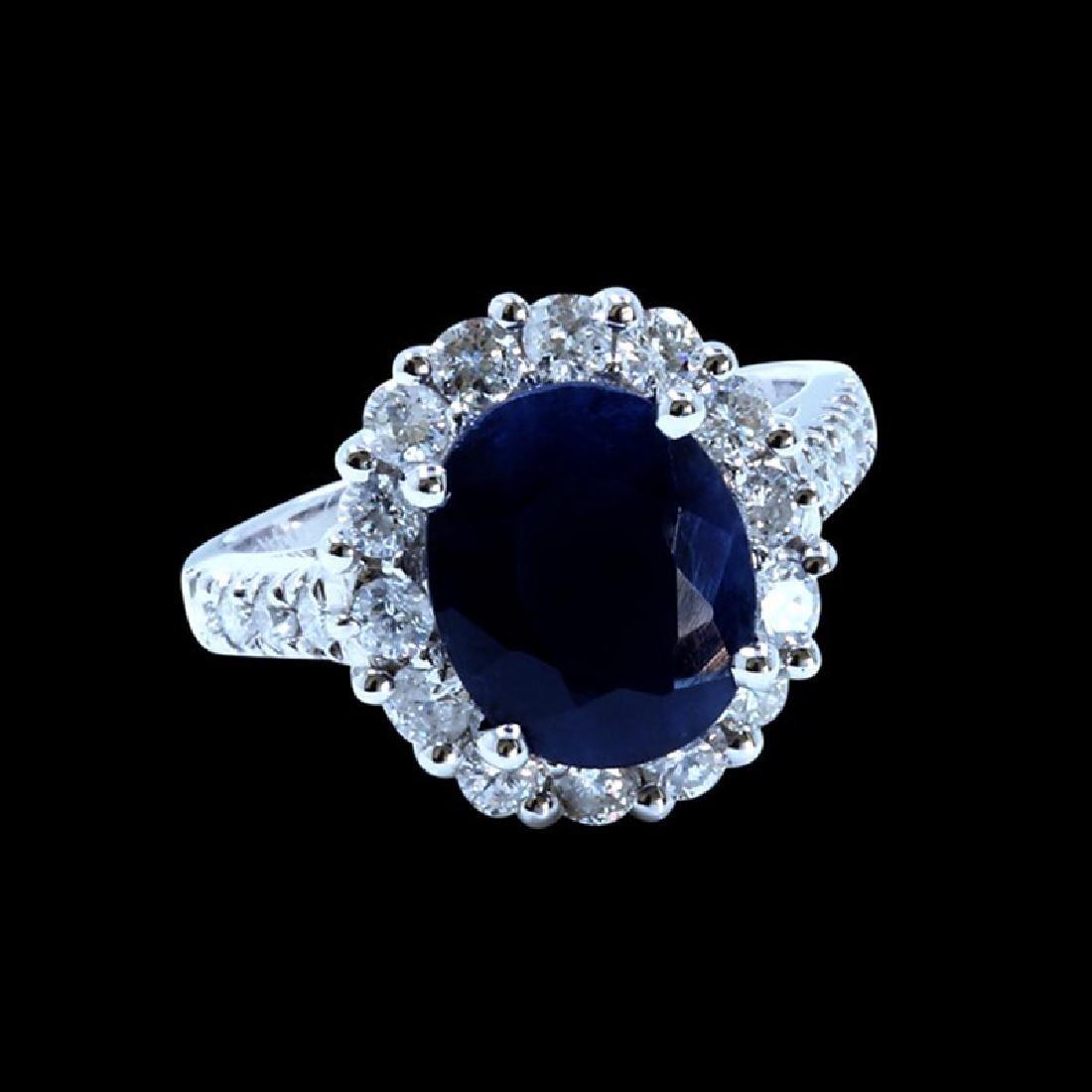 4.57CT NATURAL CEYLON BLUE SAPPHIRE 14K WHITE GOLD RING