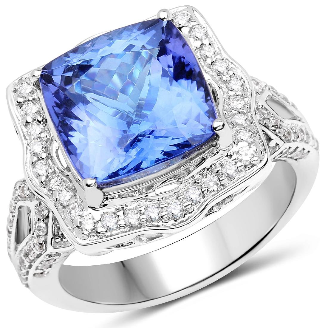 6.89ct Tanzanite 14K White Gold Ring