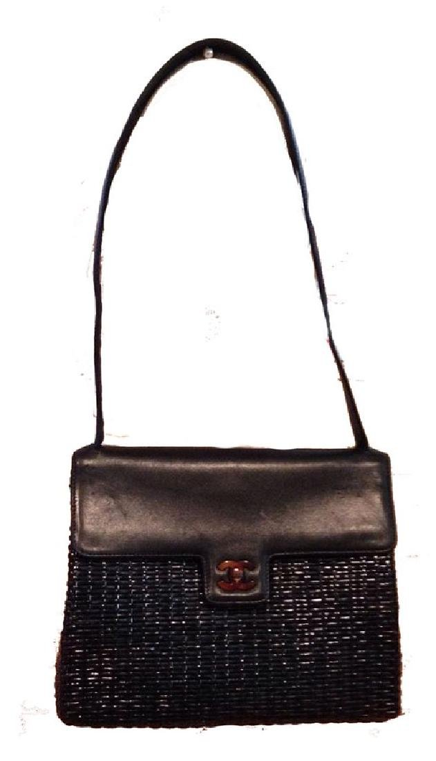 Chanel Black Wicker Rattan and Leather Shoulder Bag