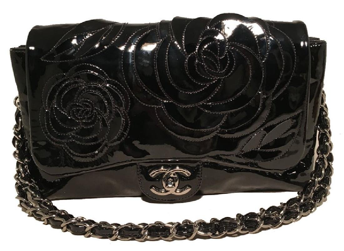 Chanel Black Patent Leather Camellia Flower Classic