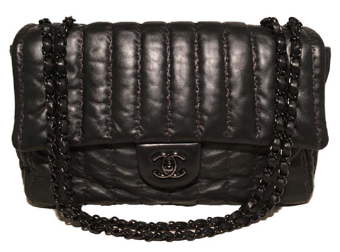 RARE Chanel Black Shimmery Leather Striped Quilted