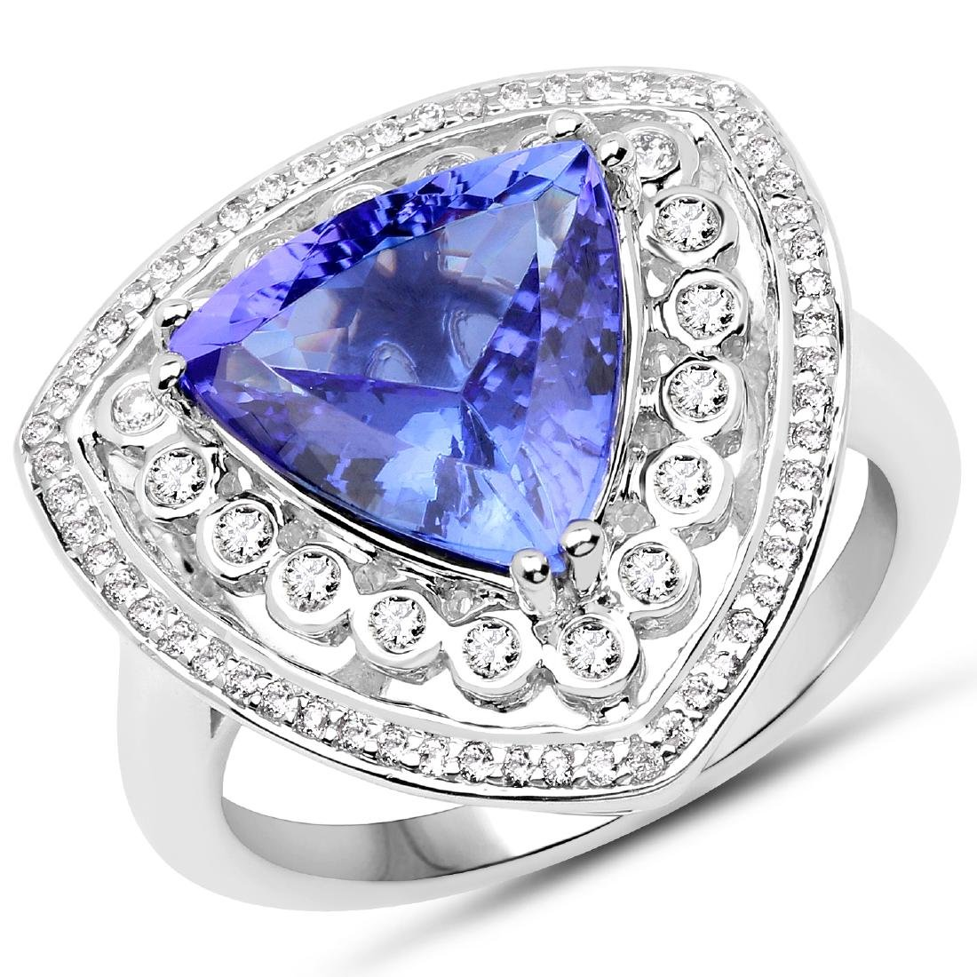 3.82ct Tanzanite 14K White Gold Ring