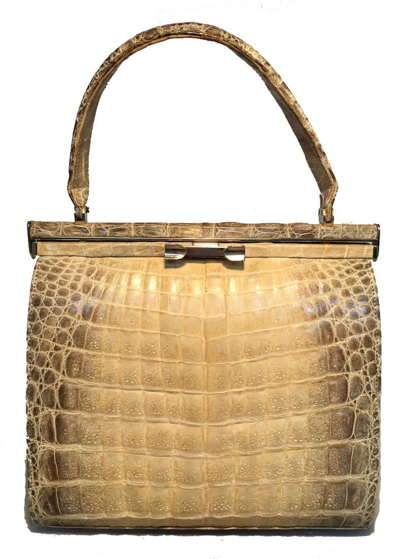 Vintage 1960s Natural Beige Crocodile Handbag