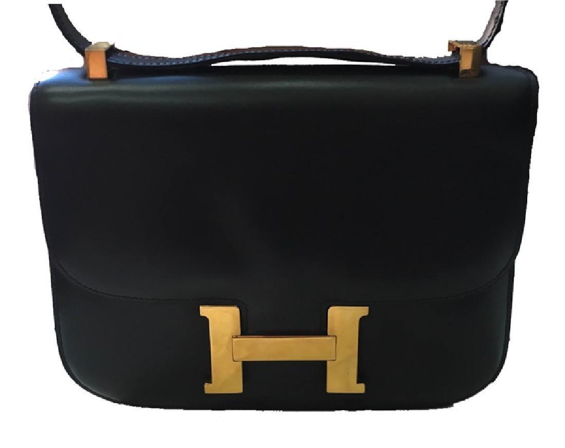 Hermes Vintage Black Leather Constance Shoulder Bag