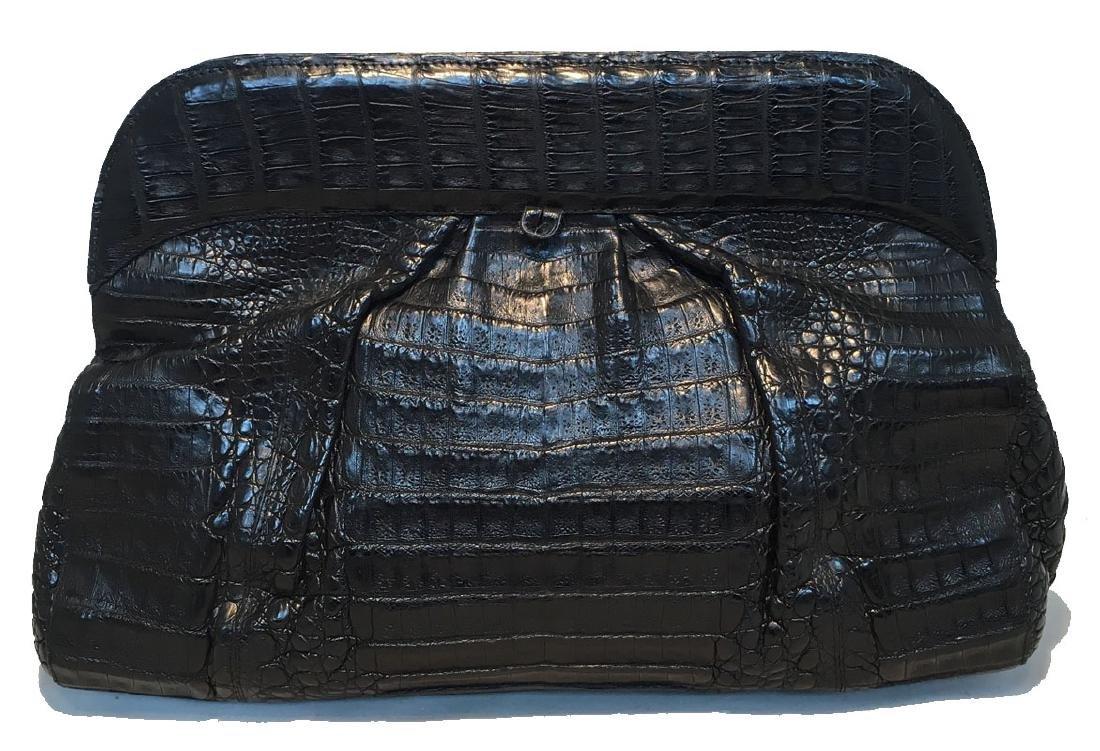 Nancy Gonzalez Black Crocodile Clutch