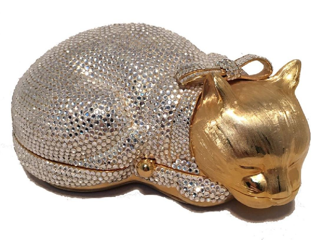 Judith Leiber Gold and Clear Swarovski Crystal Cat