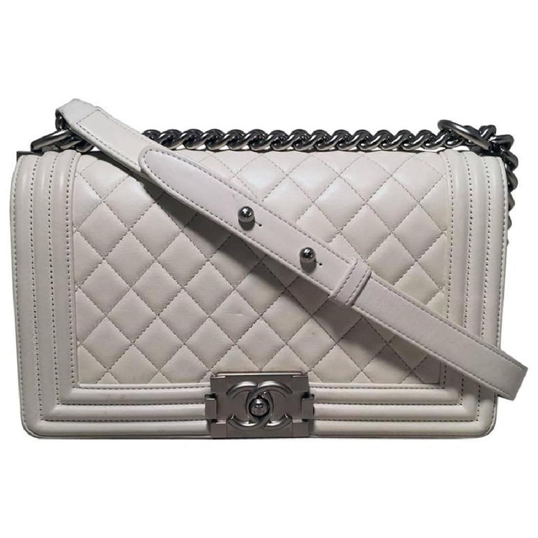 Chanel White Quilted Le Boy Classic Flap  Shoulder Bag