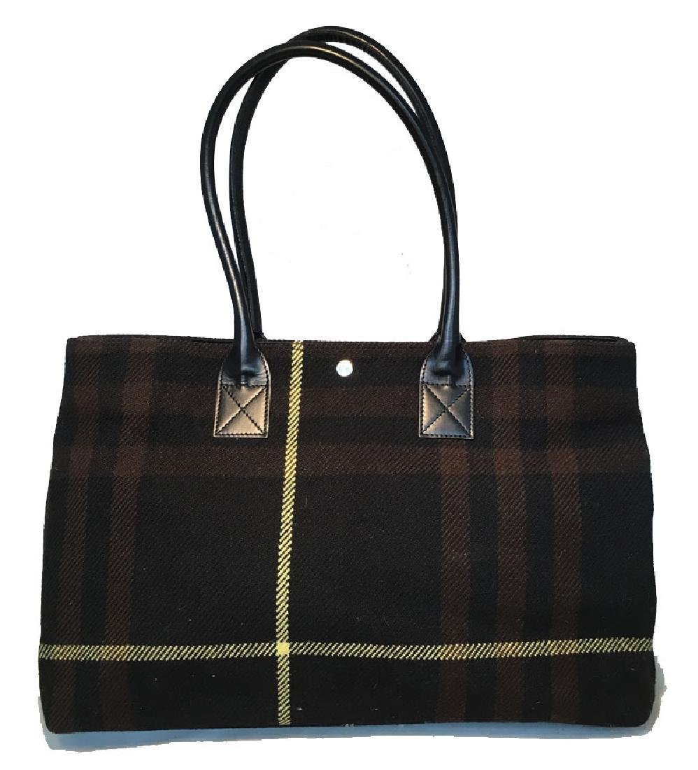Burberry Black Brown and Yellow Wool Plaid Tote