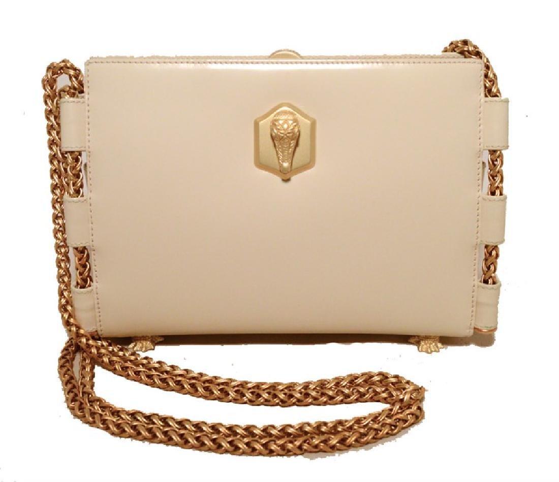 Barry Kiselstein-Cord Cream Leather Shoulder Bag