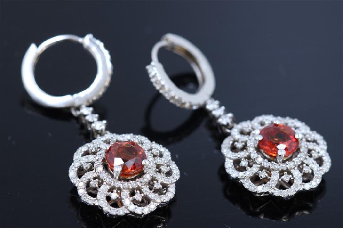 2.57ct Red Sapphire 14K white Gold Earring