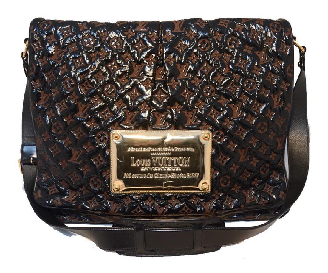 Louis Vuitton Patent Leather Embossed Logo XL Messenger