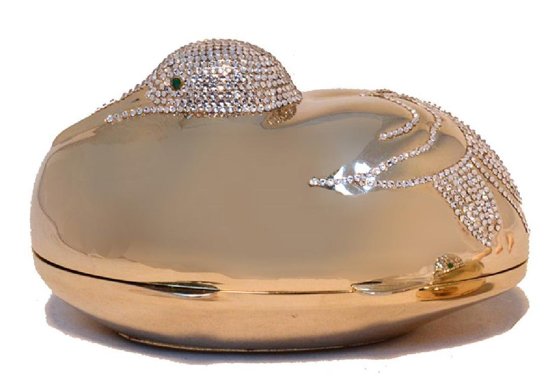 Judith Leiber Gold Swarovski Crystal Sitting Duck