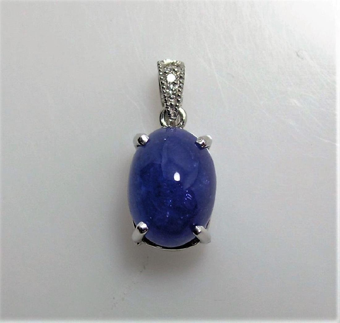 6.19ct Tanzanite Cabochon 14K White Gold Pendant