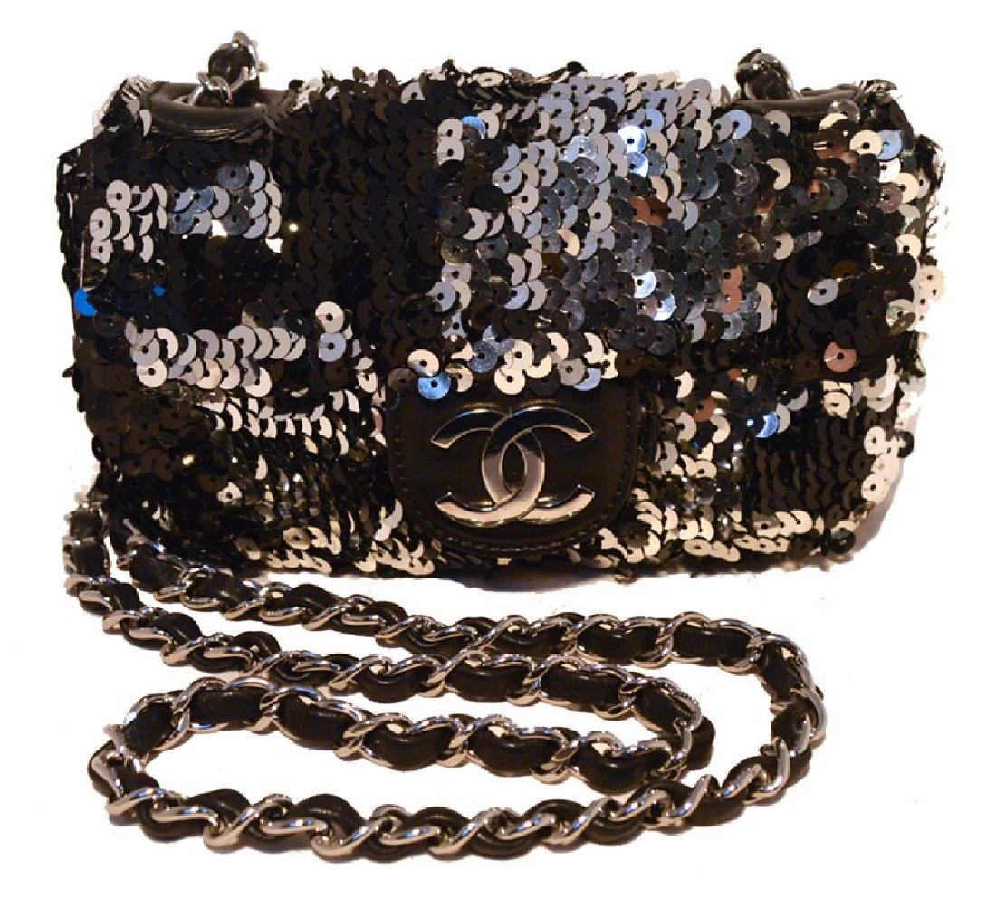 Chanel Black & Silver Sequin Mini Classic Flap Shoulder