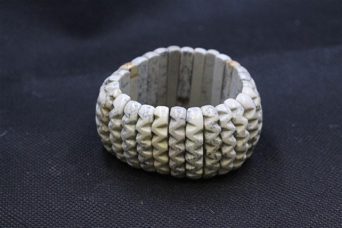 Carved Dendrite Jasper Wavy Bracelets