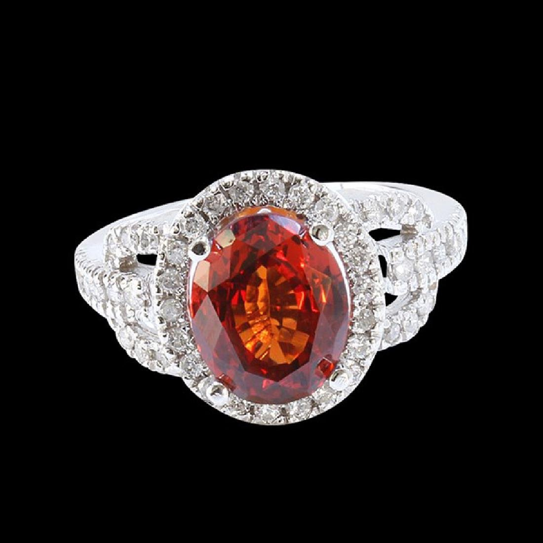 4.66CT NATURAL MALAYA GARNET 14 WHITE GOLD RING