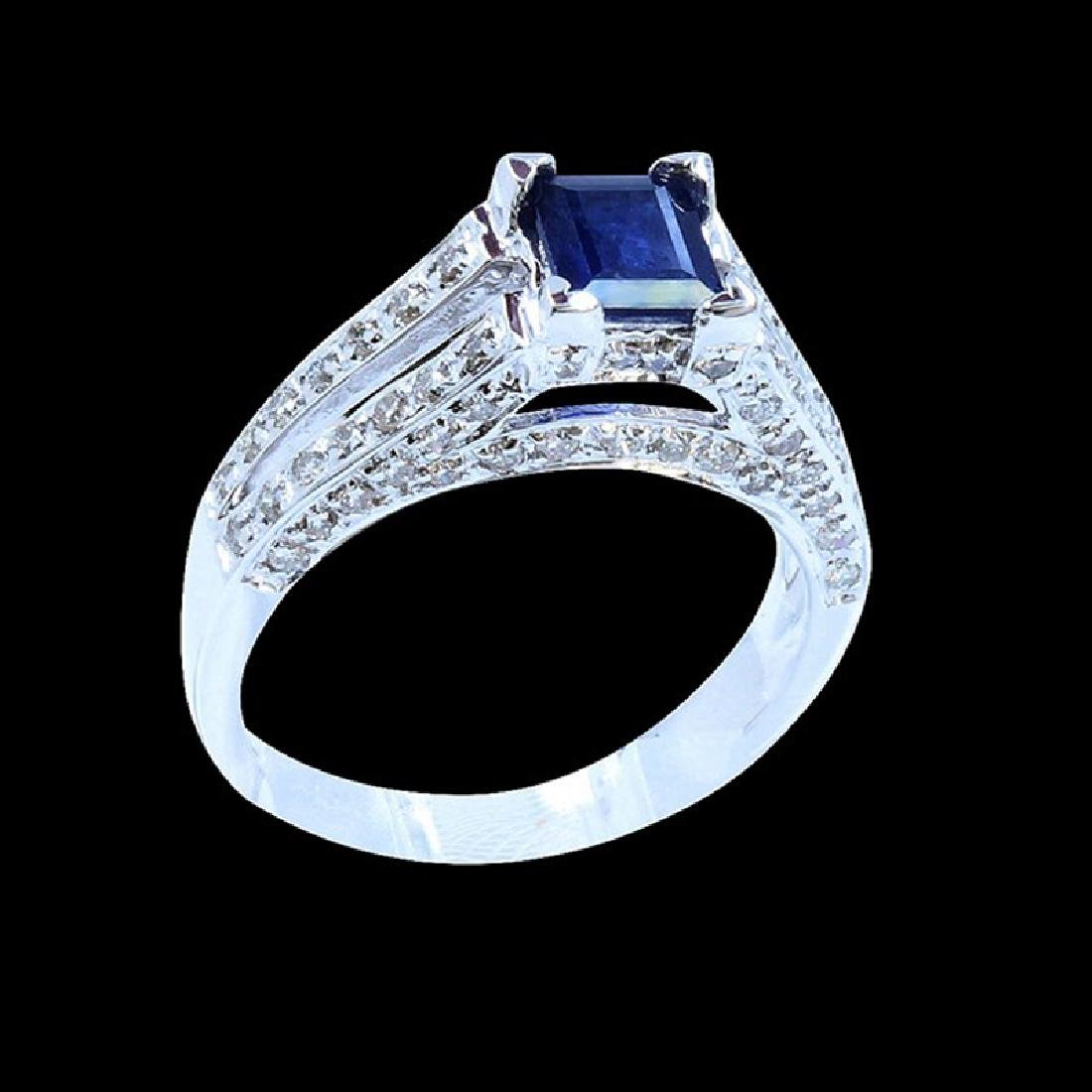 0.83CT NATURAL CEYLON BLUE SAPHIRE 14K WHITE GOLD RING