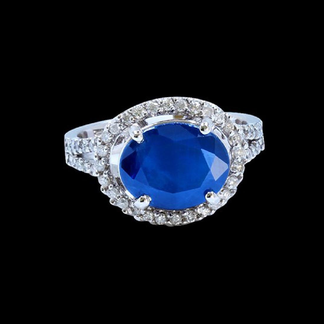 4.76CT NATURAL CEYLON BLUE SAPPHIRE 14K W/G RING