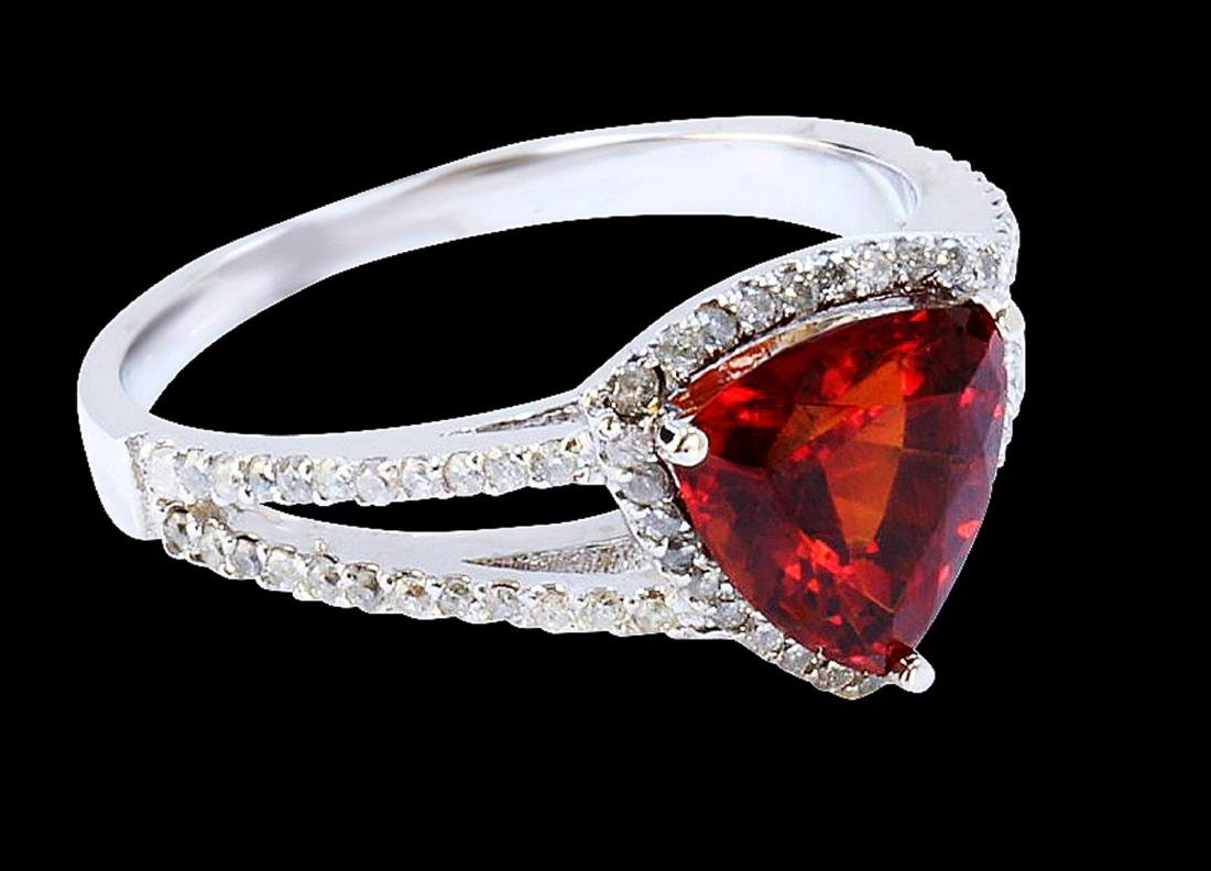 2CT NATURAL MALAYA GARNET 18K WHITE GOLD RING