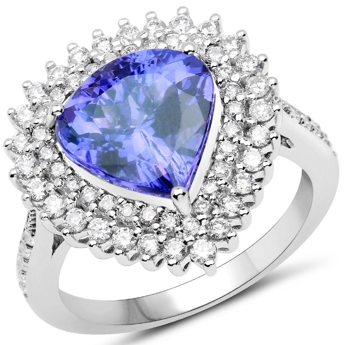 3.86ct Tanzanite 14K White Gold Ring