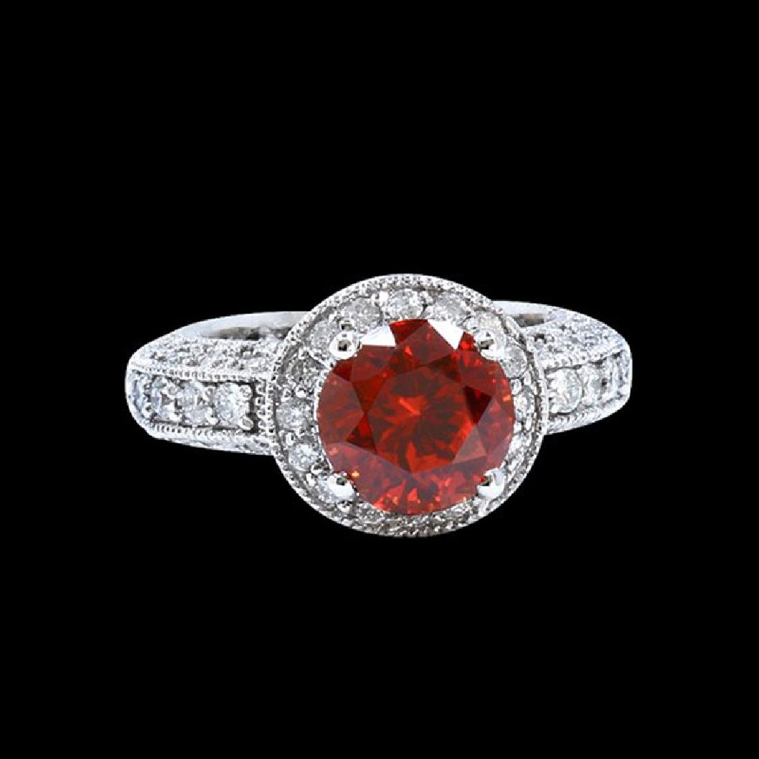 3.90CT NATURAL MALAYA GARNET 18K W/G RING
