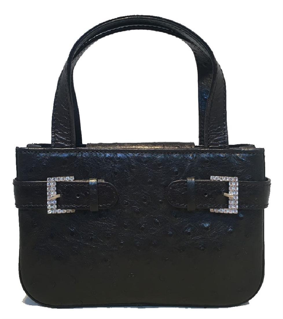 MCM Vintage Black Ostrich Mini Handbag Purse