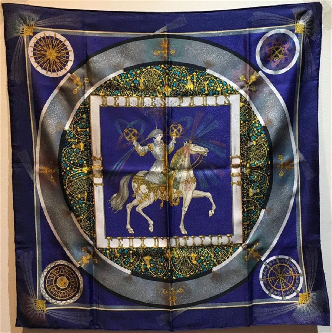 Hermes Vintage Feux D'artifice Silk Scarf in Navy