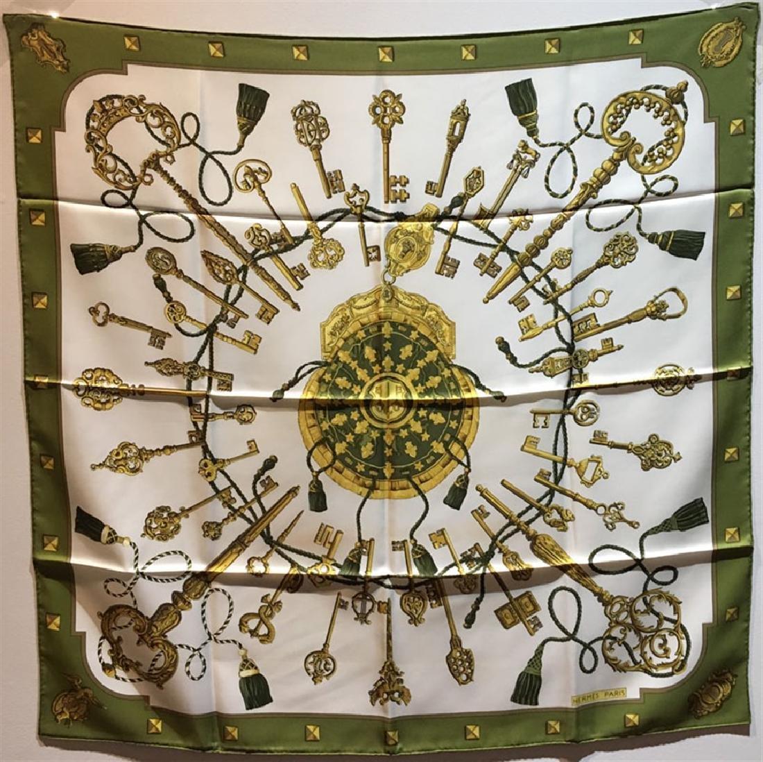 Hermes Vintage Les Cles Keys Silk Scarf in Chartreuse