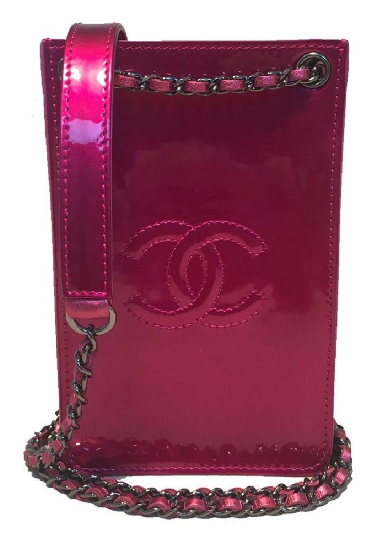 Chanel Pink Patent Leather CC Logo Mini Pouch Crossbody