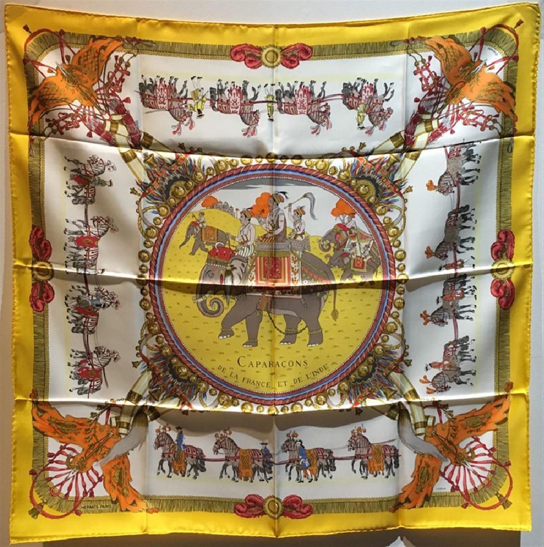 Hermes Vintage Caparacons de la France Silk Scarf in
