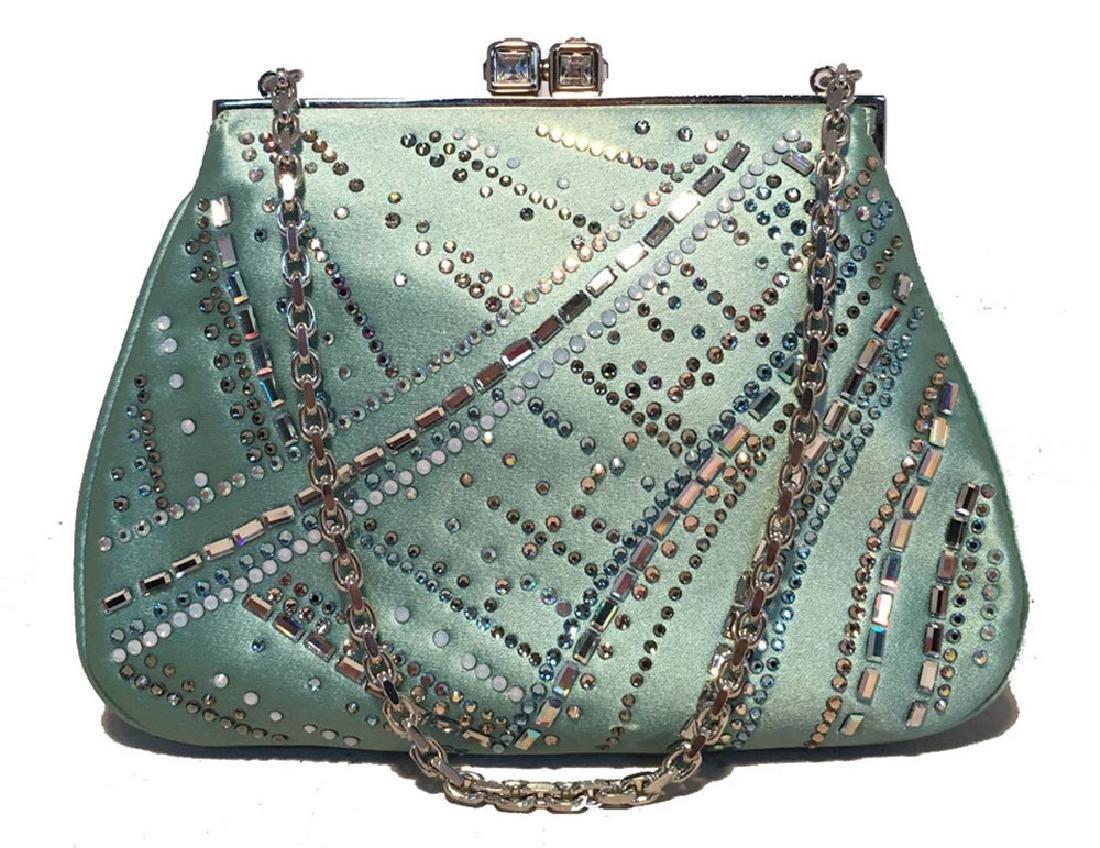 Judith Leiber Teal Silk and Swarovski Crystal Mini