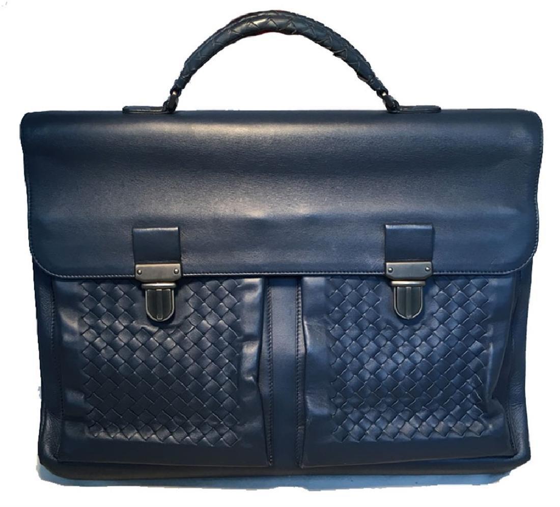 Bottega Veneta Navy Blue Leather Briefcase